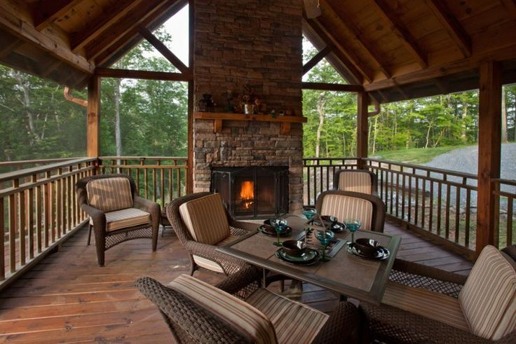 Spacious Screened In Porch With Wood Burning Fireplace In