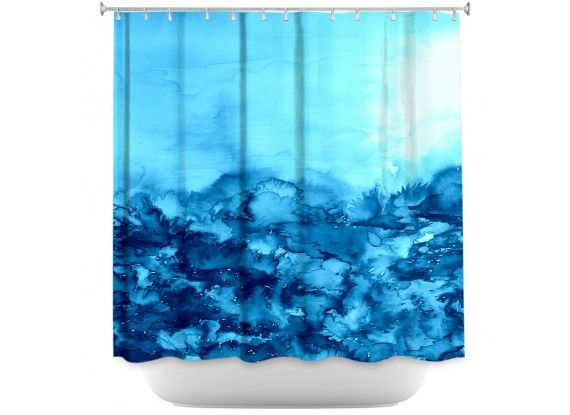 Ebi Emporium Fine Art Designer Shower Curtain, Artist Julia Di Sano on Dianoche Designs, Cool Elegant Turquoise Aqua Blue Abstract Watercolor Painting Bathroom Decorative Home Decor #pastel #turquoise #aqua #cerulean #indigo #blue #navyblue #nature #watercolor #painting #bathroom #decor #showercurtain #shower #homedecor #dorm #stylish #feminine #chic #girly #style