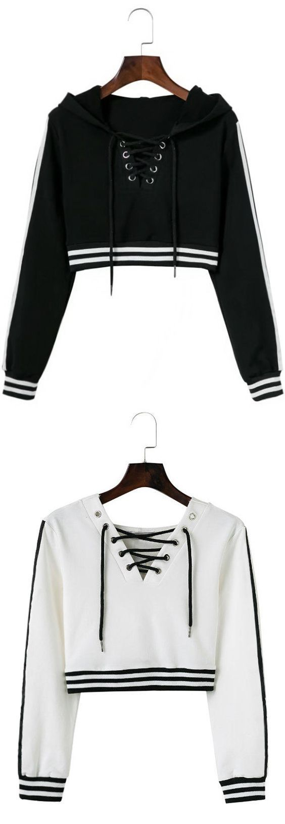 Up to 80% OFF!  Lace Up Striped Cropped Hoodie. Zaful,zaful.com,zaful fashion,tops,womens tops,outerwear,sweatshirts,hoodies,hoodies outfit,hoodies fo…