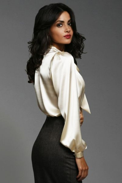 Inspiration- Speed the Plow- Secretary- silky blouse reminds me of sleek silky curls in hair- Red lips- strong eyebrows