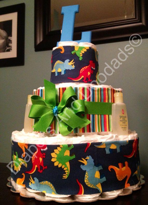 Custom Personalized 65 DIAPER CAKE Dino by DiapersAndDoodads, $60.00