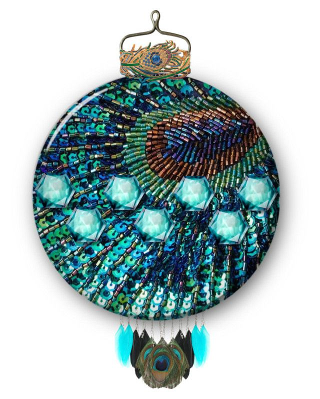 """""""Peacock Ornament"""" by cindyfaye ❤ liked on Polyvore featuring art"""