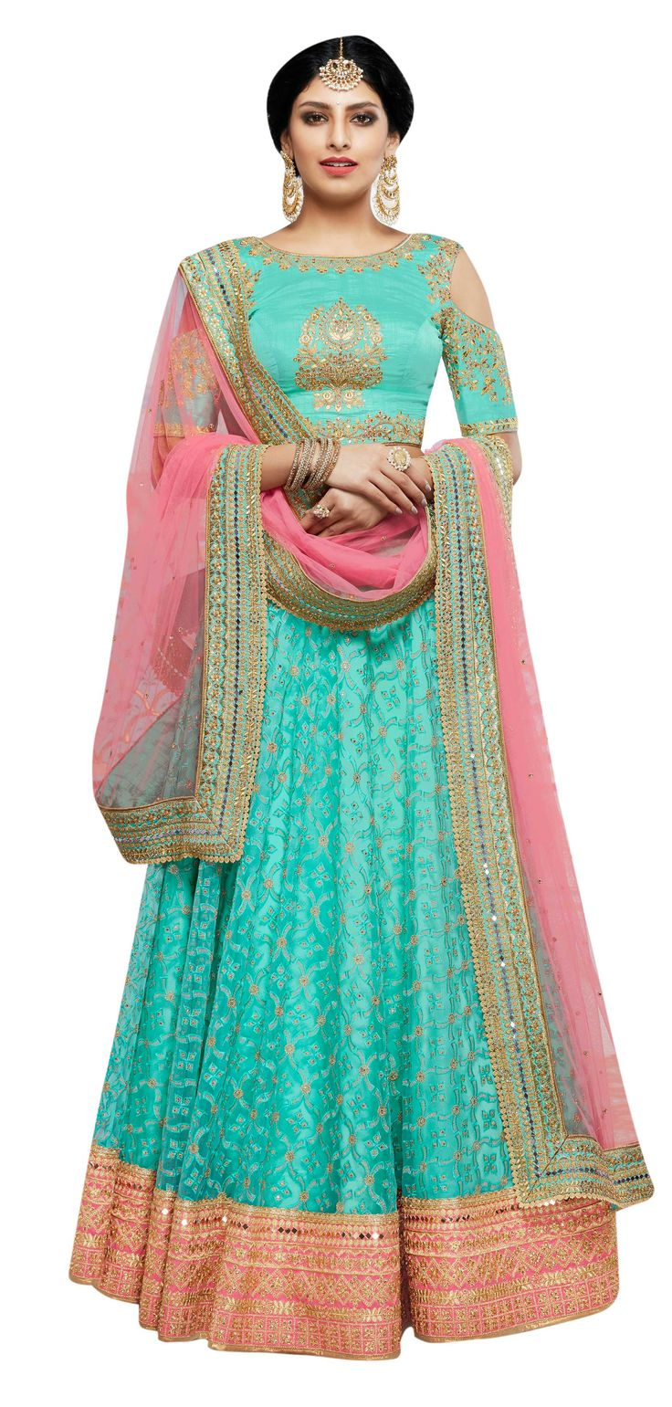 It's net lehenga. It's a heavy embroidered lehenga. It's a lehenga in a beautiful color. It's a latest lehenga design. It's available online. Free shipping in India. Easy lehenga online shopping is possible. Follow the link to check how!