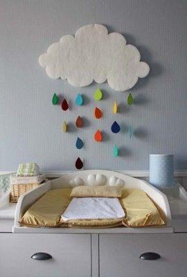 Nube y gotas de agua hechas con fieltro y papel de colores.