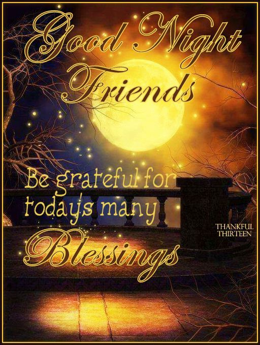 Good Night Friends, Be grateful for today's many Blessings!