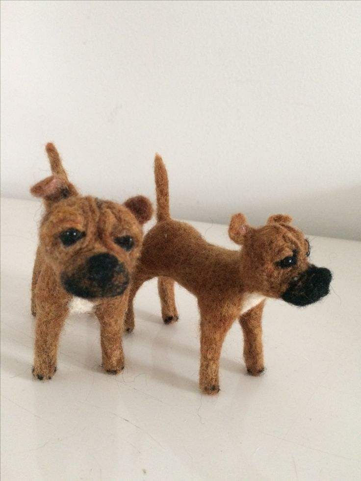 Staffies needle felted