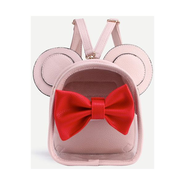 SheIn(sheinside) Pink Contrast Bow Front Clear Backpack With Mouse... ($17) ❤ liked on Polyvore featuring bags, backpacks, pink, pink bag, pink clear backpacks, red backpack, pink backpack and crystal clear bags