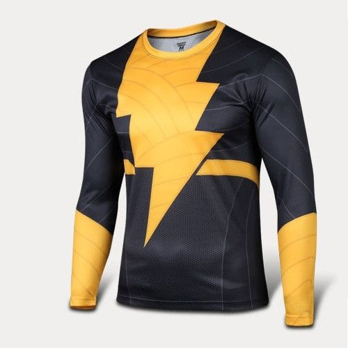 Captain Marvel Shazam Quick-dry Sports T-shirt, Breathable Long Sleeve T-shirt For Outdoor Sports.