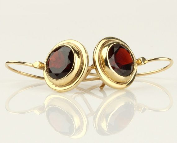 Garnet gold earrings 14k solid gold red Garnet by SigalGerson