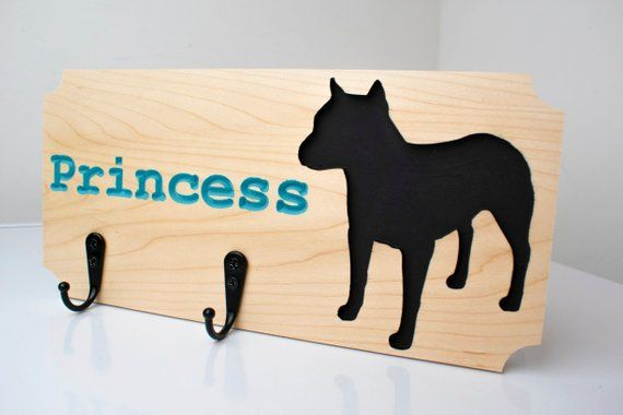 Personalized Pit Bull Dog Leash Holder Carved Maple Wood Coat Rack