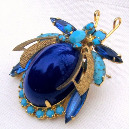 D-E-Juliana-Turquoise-Blue-Rhinestone-Large-Blue-Stone-Bee-Bug-Brooch-Pin