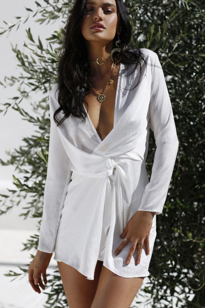 Sweet Pot - Twisted Satin Dress (White)