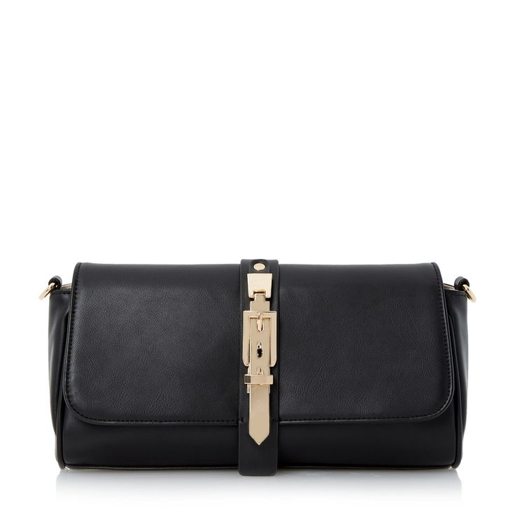 Head Over Heels by Dune Black buckle detail clutch bag- at Debenhams.com