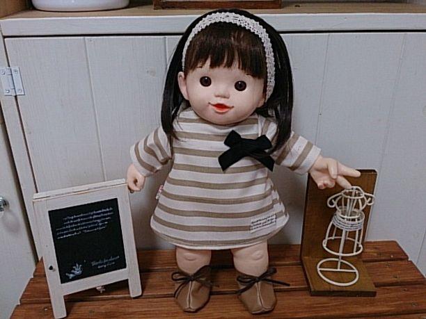 ぽぽちゃん服*ベージュボーダーワンピ&靴set*