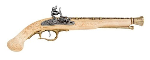 DELUXE FLINTLOCK PISTOL BRASS AND IVORY FINISH NON FIRING REPLICA GUN - REVOLUTIONARY WAR - WEAPONS - GUNS