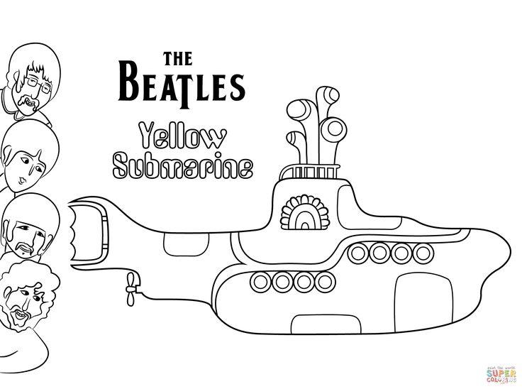 Dibujo de Disco Submarino Amarillo de Los Beatles para colorear ...