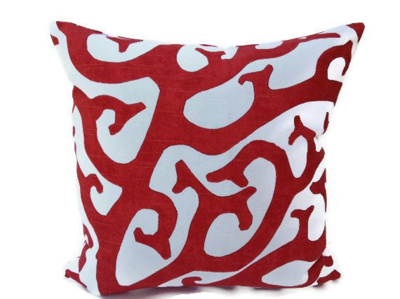 Coral Reef 20X20 Pillow Cover Designer Home Decor Fabric-Throw Pillow-Accent Pillow-Living Room Pillow-Toss Pillow-Red-White
