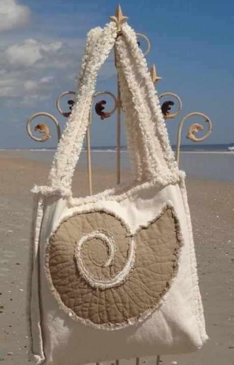 Sea Beach Bag – Sand Dollar Khaki on Ivory | Шитье,декор- сумки |…