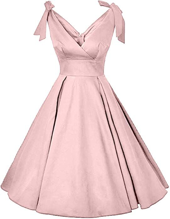 9bb8bfb2cfff4 GownTown Women's 1950s V-Neck Bowknot Swing Cocktail Dress at Amazon  Women's Clothing store: