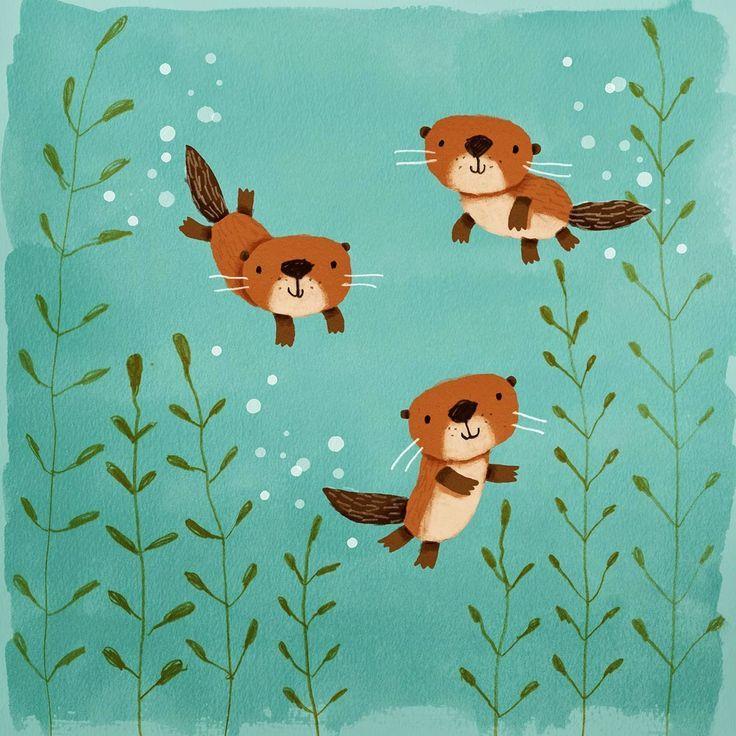 cally jane studio: Happy Otters