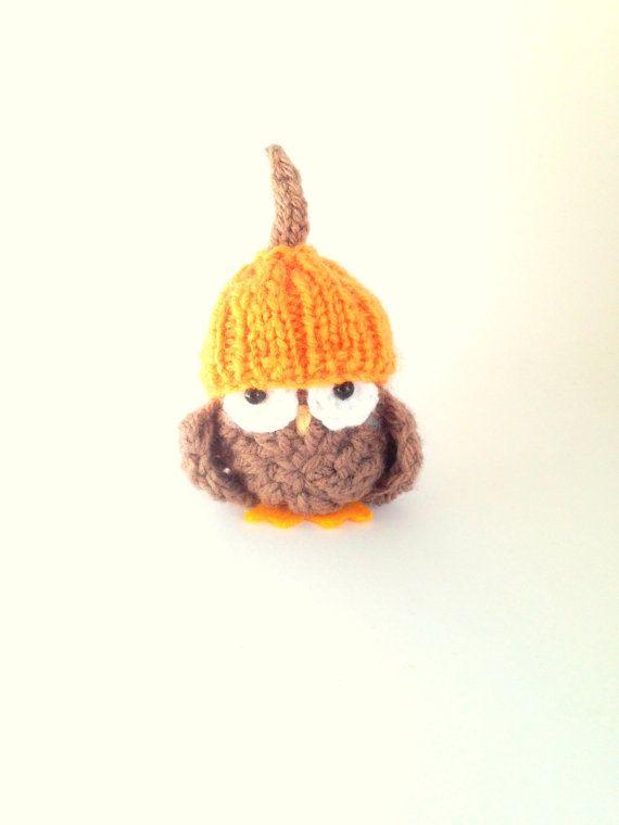 Halloween Pumpkin Beanie Owl Halloween by KnitADeeDooDah on Etsy