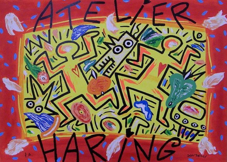 DONZELLI BRUNO - ATELIER HARING - serigrafia materica - 50 x 70  cm