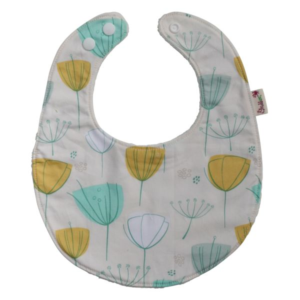 Floral Frolic baby bib.  Comes with multiple snaps for an easy fit.  www.grubbee.com.au/shop/bibs