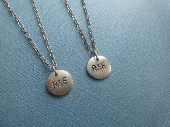 boyfriend girlfriend necklaces initials custom made by wonderkath, $34.00