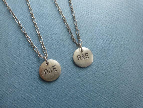 boyfriend girlfriend necklaces initials custom made by wonderkath, $34.00
