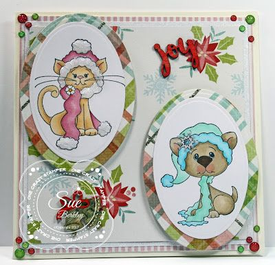 ONECRAZYSTAMPER.COM: Winter Joy by Sue using High Hopes Stamps Winter Kitty & Winter Puppy