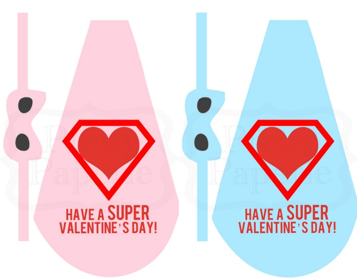 Free printable lollipop superhero cape mask Valentine A