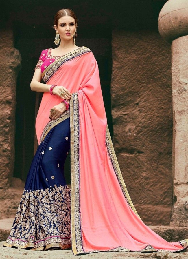 9a7608012f0 Buy Peach Silk Fabric Half and Half Saree Online