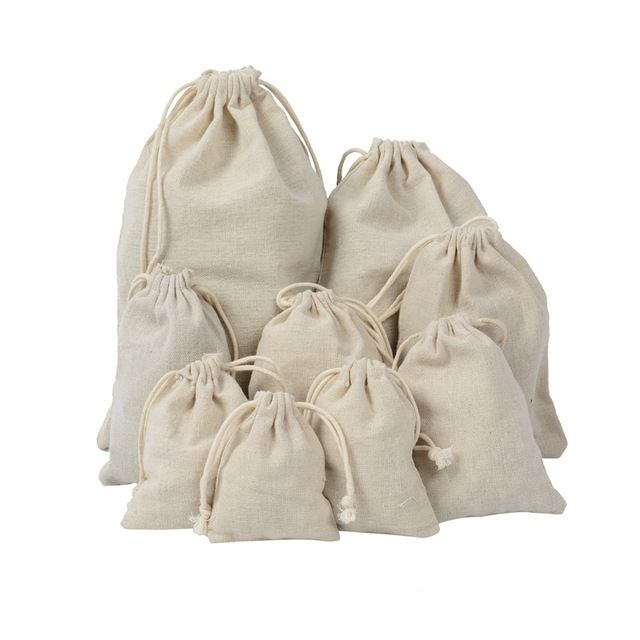 Linen Drawstring Jewelry Storage Bag Small Food Storage Bag Package Pouch Kitchen Sundries Tea Candy Nut Cotton Shopping Bags Cloth Bags Reusable Shopping Bags