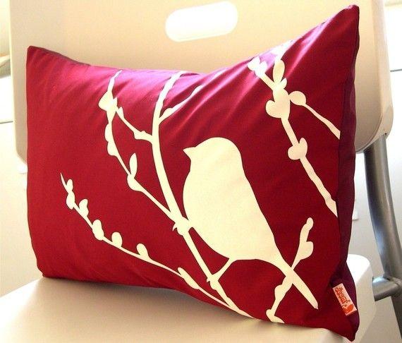 Red  Bird on Cherry Blossom Pillow https://rounablinds.com.au/