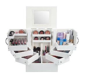Luxury Deluxe Wood Cosmetic Box with Mirror by Lori Greiner - QVC.com
