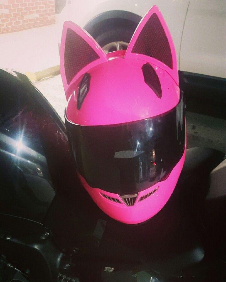 pink cat ear motorcycle helmet