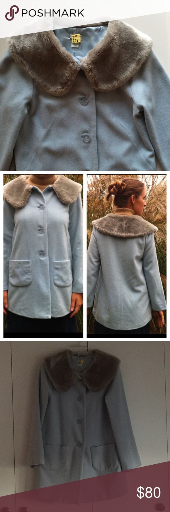 Anthropologie blue coat by Odille- size 10 Anthropologie coat by Odille- size 10. Gorgeous sky blue color with faux fur collar. Fully lined. Only one tiny nick as shown in photo. I only noticed after scrutinizing. Freshly dry-cleaned and in excellent condition. Anthropologie Jackets & Coats