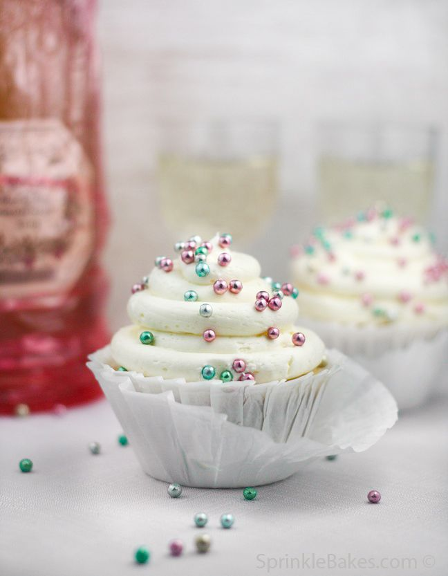 Sparkling Champagne Cupcakes Recipe..PERFECT to bring in the New Year! Don't forget personalized napkins for all of life's special events! www.napkinspersonalized.com