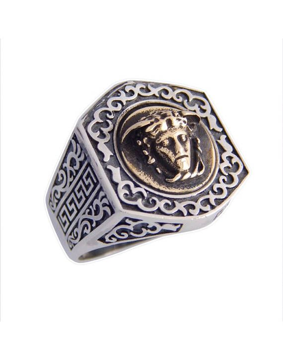 Man ring with Medusa head