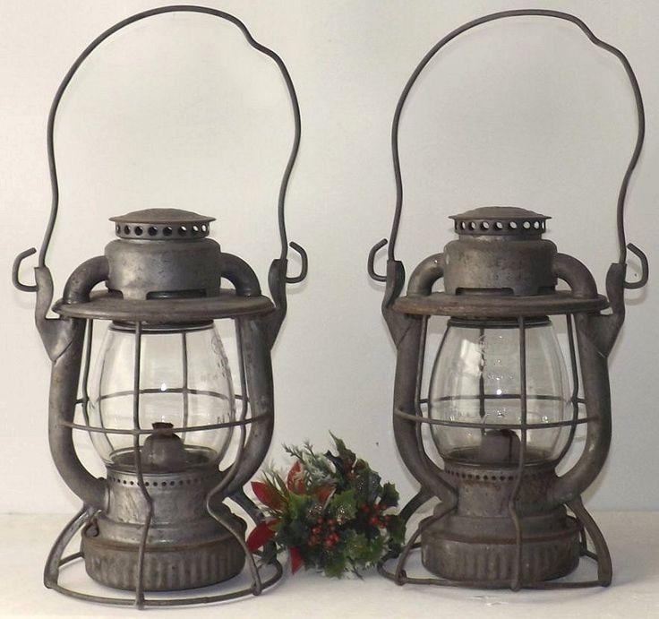 2 Antique Dietz Vesta New York Central Station Railroad Lanterns Clear CNX Globe #antique, #railroad, #lantern