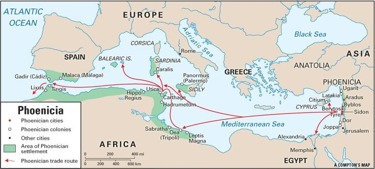 The Phoenicians founded colonies wherever they went in North and South Mediterranean; in Cyprus, Rhodes, Crete, Malta, Sicily, Sardinia, Spain, and Carthage around the first Millennium B.C.