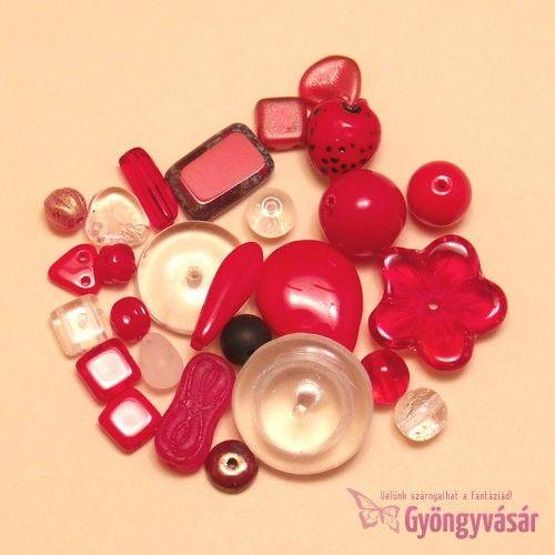 Piros-átlátszó vegyes cseh gyöngy, 15 g