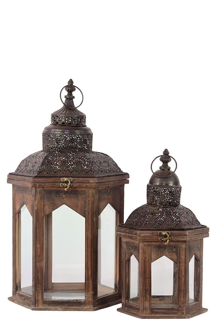 2 Piece Persian Wooden Lantern Set