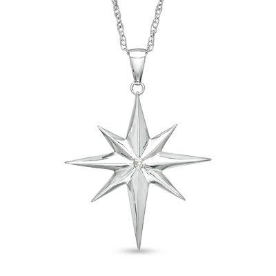 Precious Moments® Diamond Accent North Star Pendant in Sterling Silver