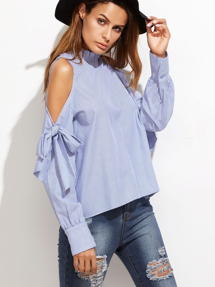 Blue Vertical Striped Ruffle Collar Cold Shoulder Blouse