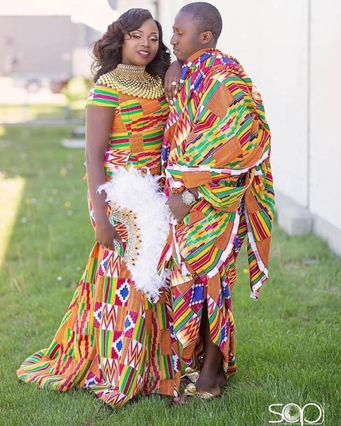 kente, kente wedding couple, african wedding. kente styles ghana