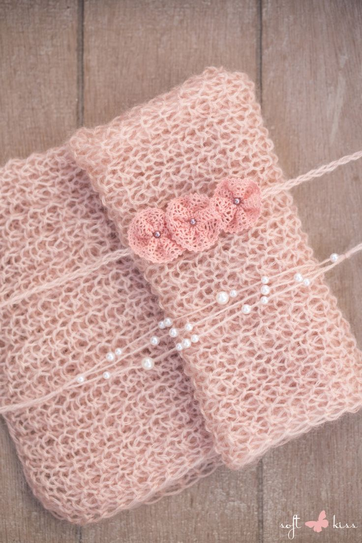 SET Knit Newborn Dusty Rose Wrap & 2 Handmade Tiebacks from Cotton Lace Ribbon Flowers and Angora with Pearls / Newborn Photography Props by SoftButterflyKiss on Etsy