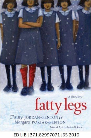 Fatty Legs: a True Story - by Christy Jordan-Fenton & Margaret Pokiak-Fenton, artwork from Liz Amini-Holmes. When Margaret Pokiak was very young she traveled with her father from her home in the High Arctic to Aklavik. The Inuit girl was mesmerized by what she saw there--strange dark-cloaked nuns and pale-skinned priests who had journeyed from far-off lands. Margaret knew they held the key to the greatest of the outsiders mysteries--reading