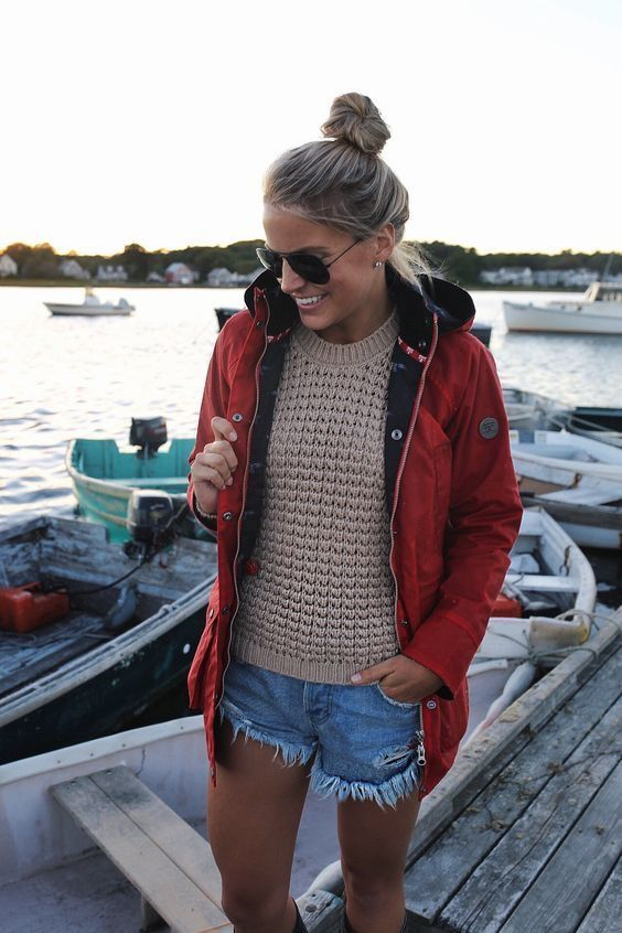 Alaska style! Cut off jean shorts, warm chunky sweater, an overcoat or float coat, plus messy bun and sunglasses. Yes, let's take the skiffs out!