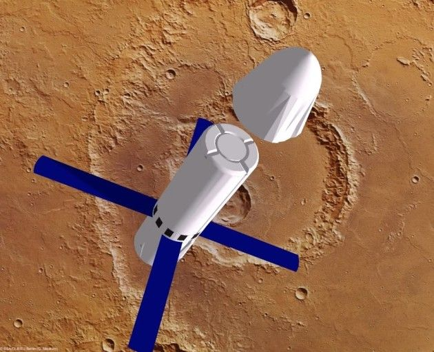 A computer-generated animation shows a lander separating from the rest of the Mars Colonial Transporter. (Credit: Michel Lamontagne via YouTube)